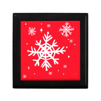 Red Holiday Snowflakes Art by Sharles Jewelry Box