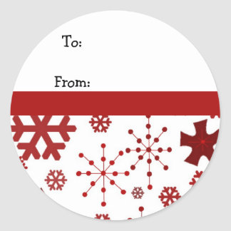 Red Holiday Snowflakes Classic Round Sticker