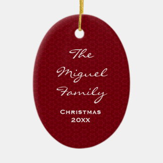 Red Holiday Stars Family Name W1608 Ceramic Ornament