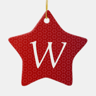 Red Holiday Stars Monogram M Gift Idea Ceramic Ornament