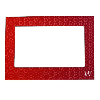 Red Holiday Stars Monogram M Gift Idea Magnetic Frame