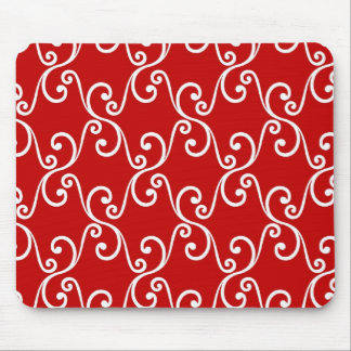 Red Holiday Swirls Mouse Pad