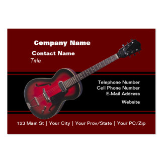 Red HollowBody Guitar Large Business Cards (Pack Of 100)