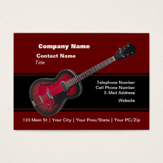 Red HollowBody Guitar Business Card