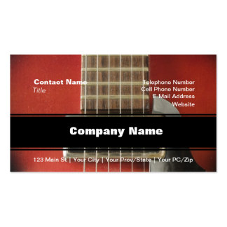 Red HollowBody Guitar Pick-up Business Card Templates