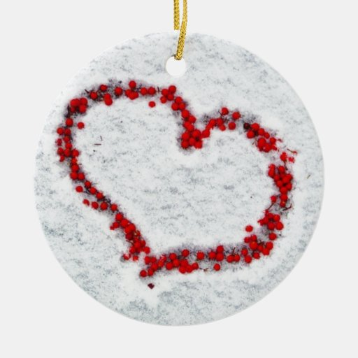 Red Holly Berry Heart Double-Sided Ceramic Round Christmas Ornament