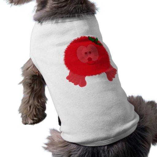 Red Holly Bow Pom Pom Pal Dog Tee