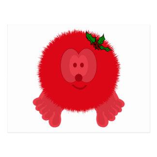 Red Holly Bow Pom Pom Pal Postcard