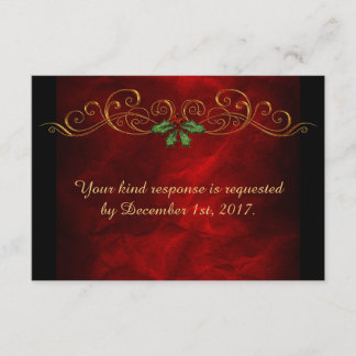 Red Holly Christmas Wedding Menu RSVP