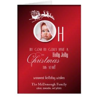 Red Holly Jolly Photo Holiday Greeting Card