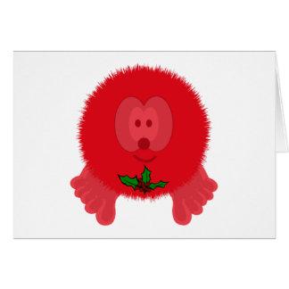 Red Holly Tie Pom Pom Pal Card
