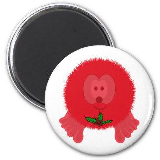 Red Holly Tie Pom Pom Pal Magnet
