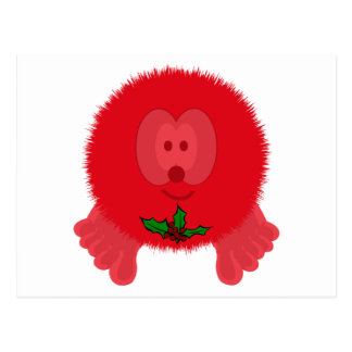 Red Holly Tie Pom Pom Pal Postcard