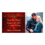Red Holly Winter Wedding Save the Date Photo Card