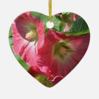 Red Hollyhock Double-Sided Heart Ceramic Christmas Ornament