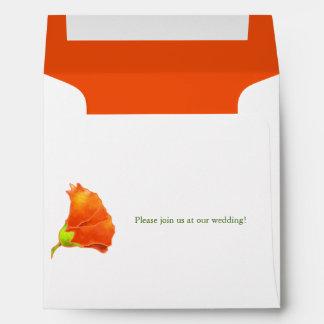 Red Hollyhock Wedding Invitation Square Envelopes