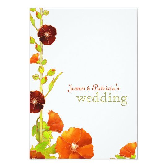Red Hollyhocks Botanical Wedding Card
