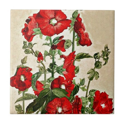 Red Hollyhocks Small Square Tile