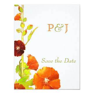 Red Hollyhocks Wedding Save the Date Card