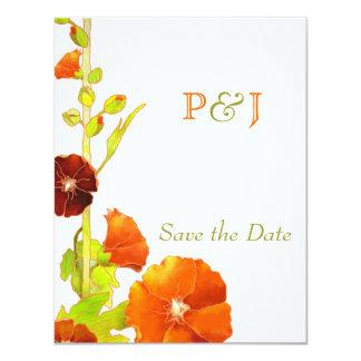 Red Hollyhocks Wedding Save the Date Card