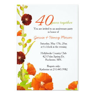 Red Hollyhocks White 40th Wedding Anniversary Invitation