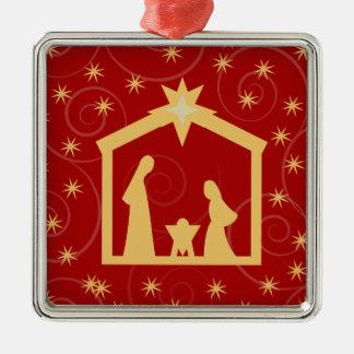 Red Holy Night Nativity Christmas Ornament
