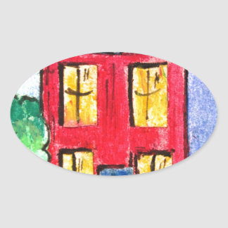 red home by pixi -art.com oval sticker