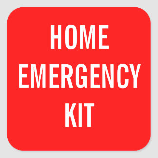 Red Home Emergency Kit Label Square Stickers