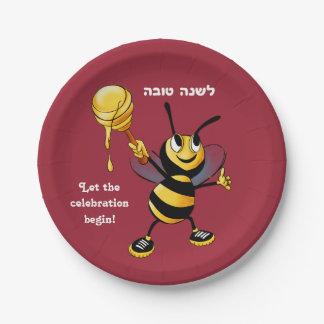 Red Honey Bee Rosh HaShana Paper Plate