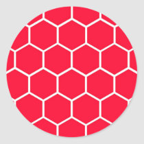 Red honeycomb pattern classic round sticker