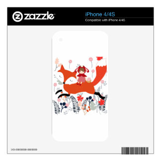 Red hood riding girl and fox in flower garden decal for the iPhone 4S