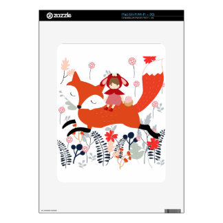 Red hood riding girl and fox in flower garden decals for iPad