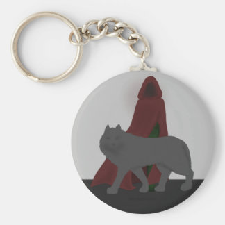 Red-Hooded Figure and Wolf Keychain