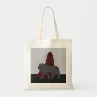 Red-Hooded Figure and Wolf Tote Bag