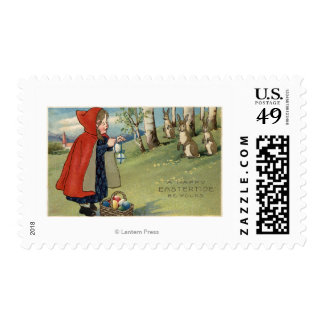 Red Hooded Girl Handing Eggs to Rabbits Postage