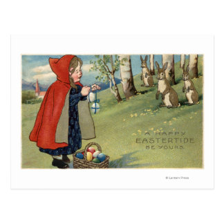 Red Hooded Girl Handing Eggs to Rabbits Postcard