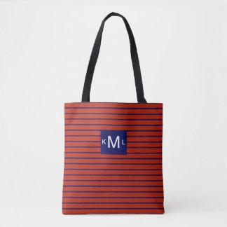 Red Horizontal Stripes Blue Monogram Template Tote Bag