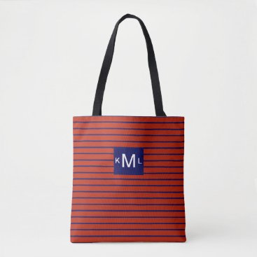 Beach Themed Red Horizontal Stripes Blue Monogram Template Tote Bag