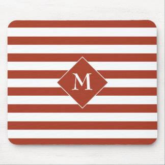 Red Horizontal Stripes With Center For White Text. Mouse Pad
