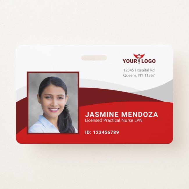 Red Horizontal Template Logo Employee Name ID Badge