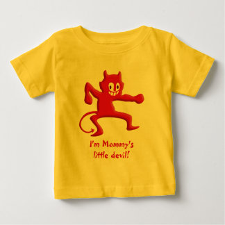 Red Horned Devil Imp with Pointed Tail Baby T-Shirt