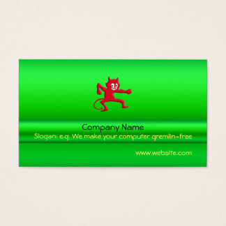 Red Horned Grinning Devil Imp, green metallic-look Business Card
