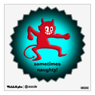 Red Horned Imp, Pointed Tail, sometimes naughty Wall Sticker