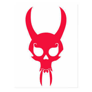 RED HORNED SKULL POSTCARD