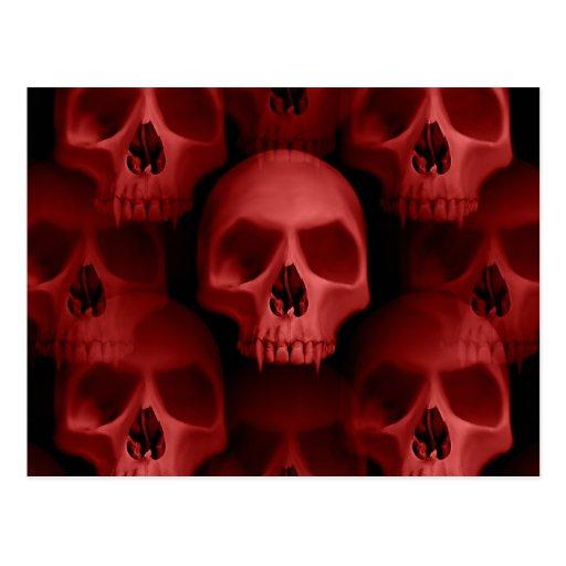 Red horror skulls postcard