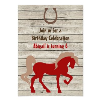Red Horse and Barn Wood Girls or Boys Birthday 5x7 Paper Invitation Card