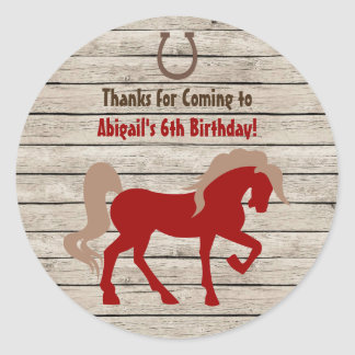 Red Horse and Barn Wood Girls or Boys Birthday Classic Round Sticker