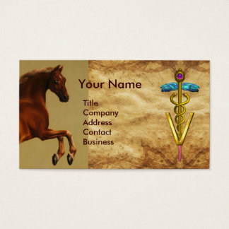 RED HORSE AND GOLD CADUCEUS VETERINARY SYMBOL BUSINESS CARD