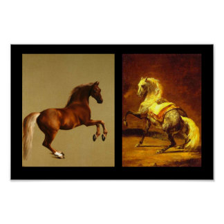 RED HORSE AND GREY DAPPLED HORSE PRINT