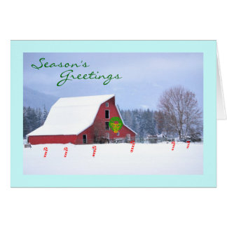 Red Horse Barn in Winter, Seasons Greetings Card